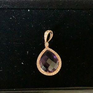 diamonds international Jewelry - Rose gold, diamond and amethyst pendant